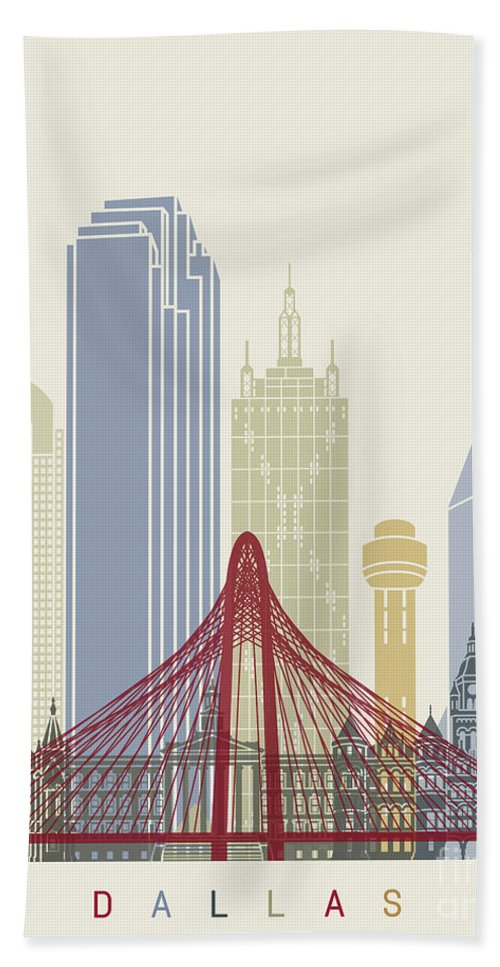 United States Beach Towel featuring the painting Dallas Skyline Poster by Pablo Romero