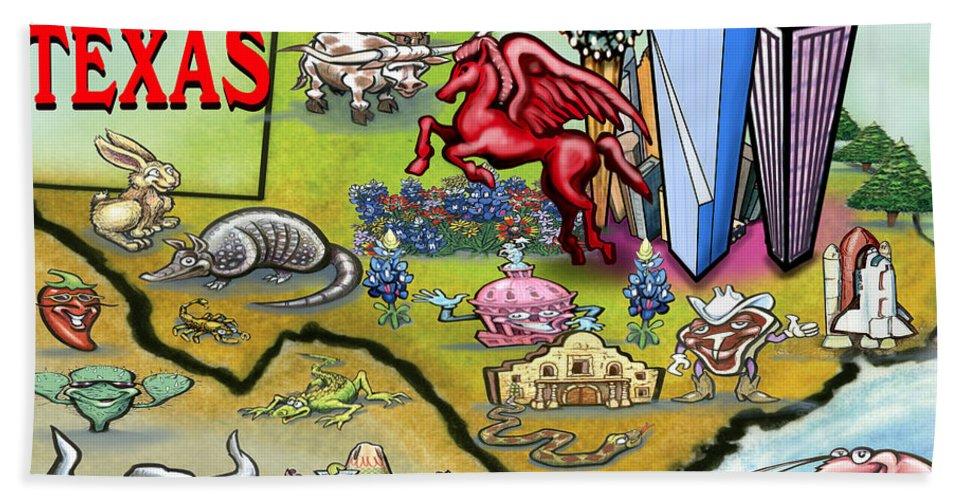 Dallas Beach Towel featuring the digital art Dallas Texas Cartoon Map by Kevin Middleton