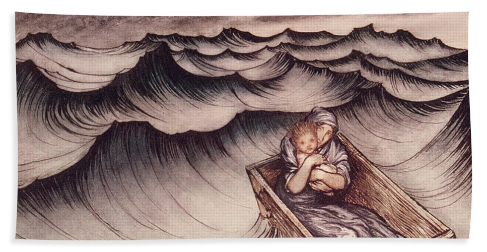 Arthur Rackham Beach Towel featuring the drawing Danae And Her Son Perseus Put In A Chest And Cast Into The Sea by Arthur Rackham