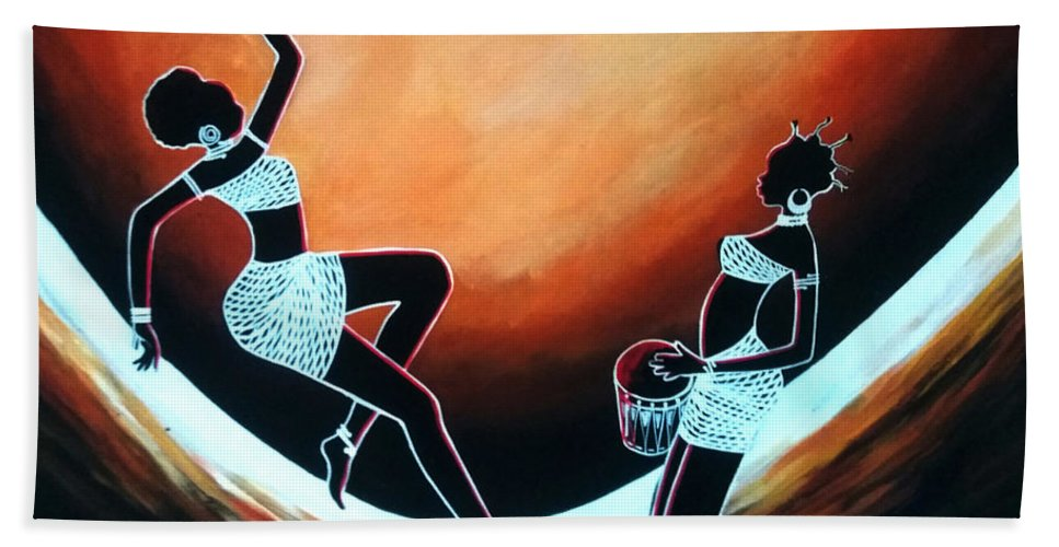 African Art Beach Towel featuring the painting Dance by Jethro Longwe