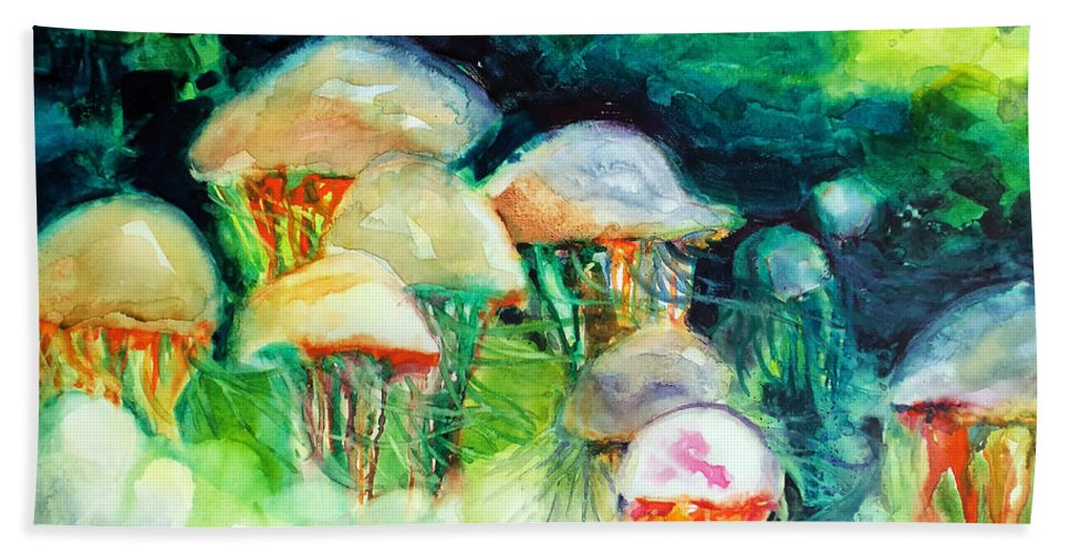 Paintings Beach Towel featuring the painting Dance Of The Jellyfish by Kathy Braud