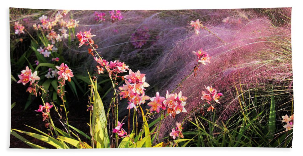Flower Beach Towel featuring the photograph Dance Of The Orchids by Rosalie Scanlon