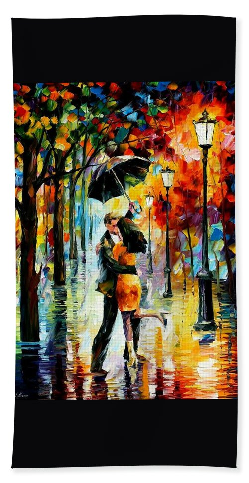 Afremov Beach Towel featuring the painting Dance Under The Rain by Leonid Afremov