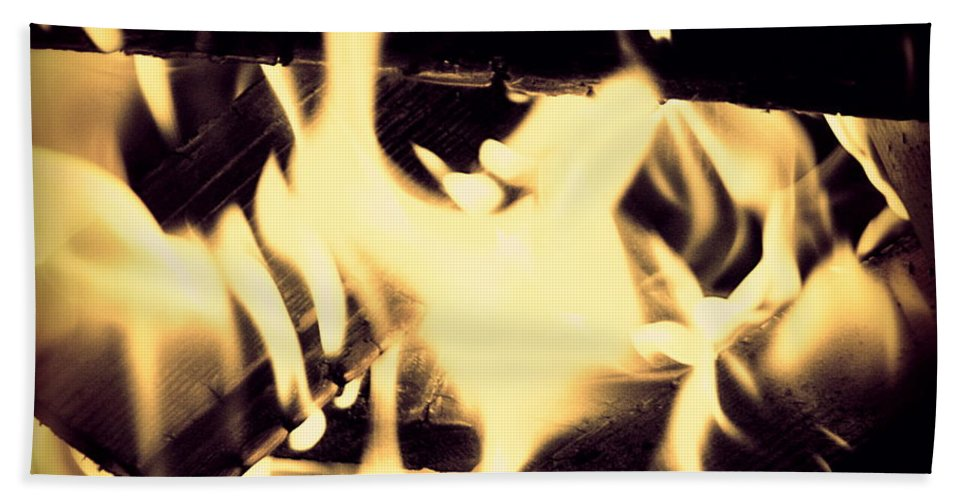 Abstract Beach Towel featuring the photograph Dancing Flames by Frances Lewis