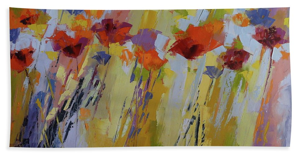 Poppies Beach Towel featuring the painting Dancing Ladies by Yvonne Ankerman
