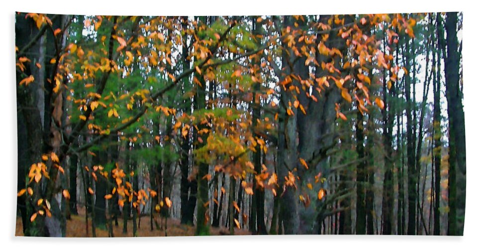 Autumn Beach Towel featuring the painting Dancing Leaves by Paul Sachtleben