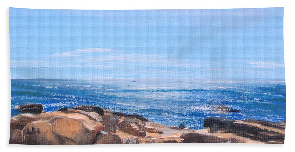 Seascape Beach Towel featuring the painting Dancing Light by Lea Novak