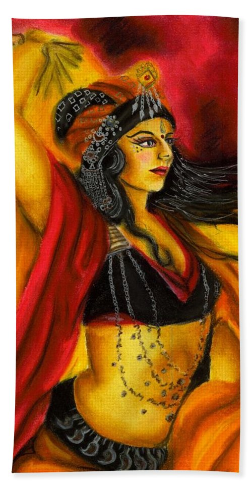Belly Dancer Beach Towel featuring the drawing Dancing with Fire by Scarlett Royal