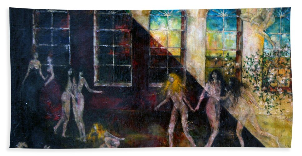Imagination Beach Towel featuring the painting Dangerous Parties by Wojtek Kowalski