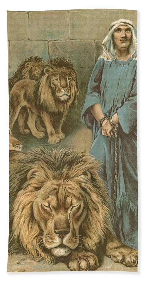 Daniel In The Lions' Den By John Lawson (19th Century) Bible Beach Towel featuring the painting Daniel In The Lions Den by John Lawson