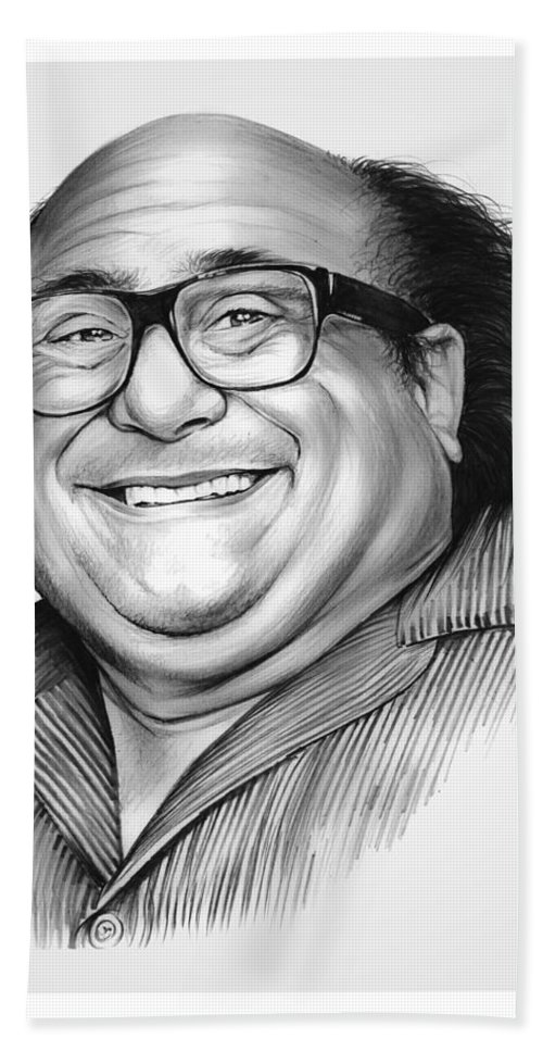 Dannydevito Beach Towel featuring the drawing Danny Devito by Greg Joens