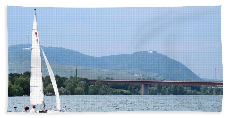 Sail Beach Towel featuring the photograph Danube River Sailor by Ian MacDonald