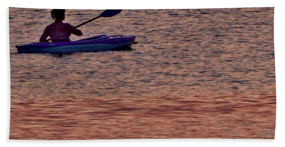 Sunset Beach Towel featuring the photograph Danvers River Kayaker by Scott Hufford