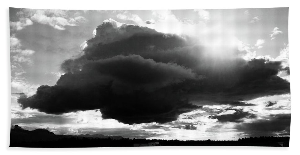 Black And White Beach Towel featuring the photograph Dark Cloud by Ron Bissett