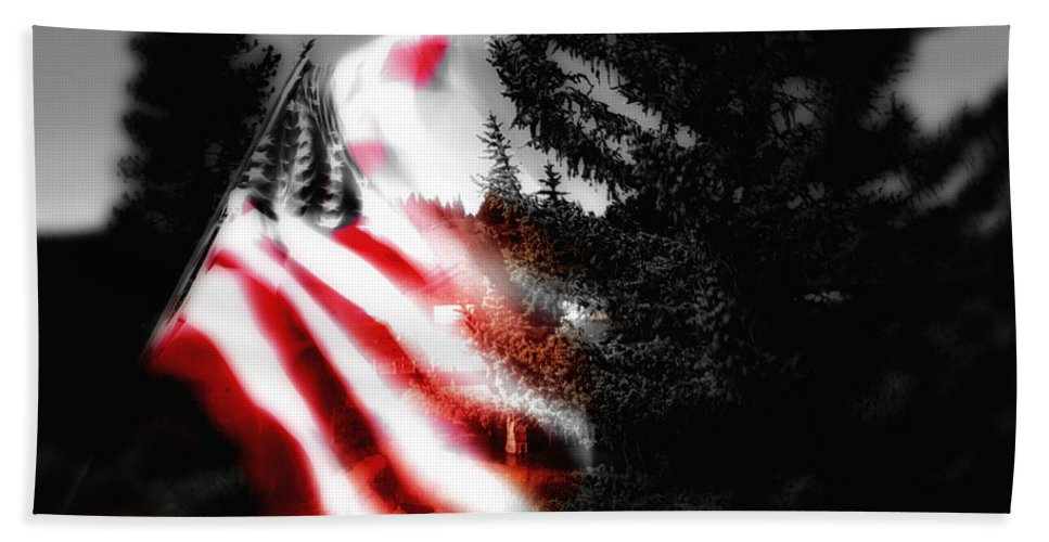 American Flag Beach Towel featuring the digital art Darkness Falling On Freedom by Donna Blackhall