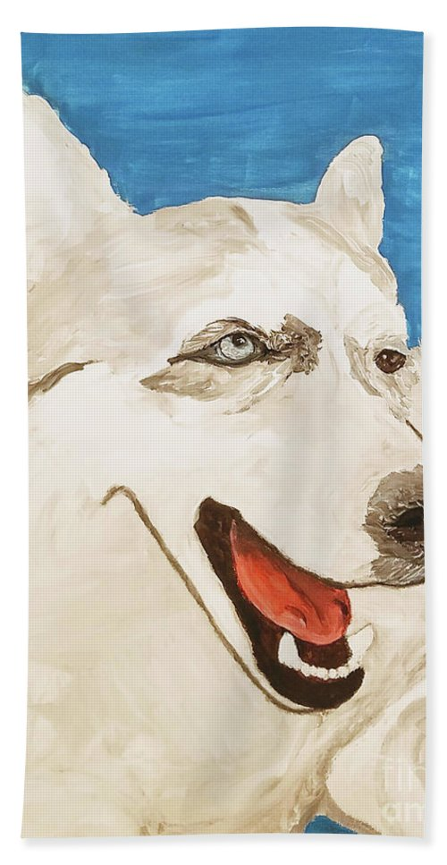 Dog Beach Towel featuring the painting Date With Paint Feb 19 Layla by Ania M Milo