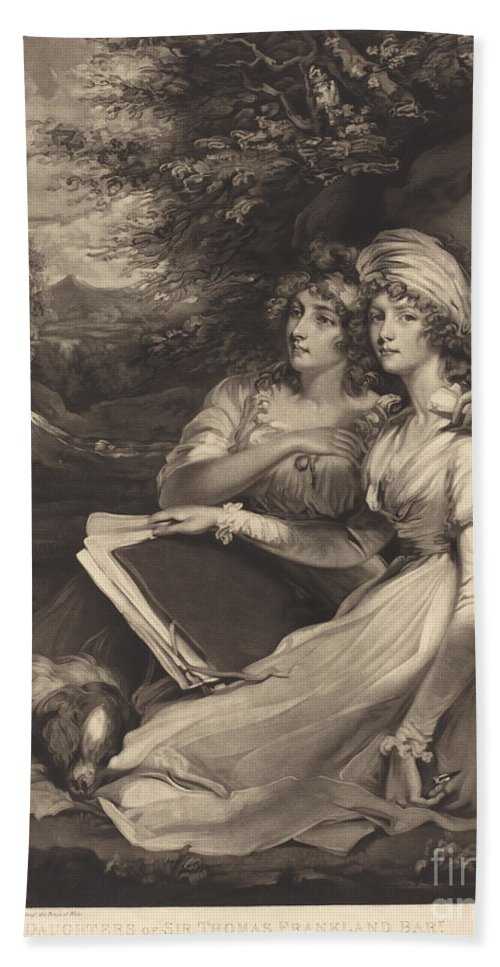 Beach Towel featuring the drawing Daughters Of Sir Thomas Frankland Bart (the Sisters) by William Ward After John Hoppner