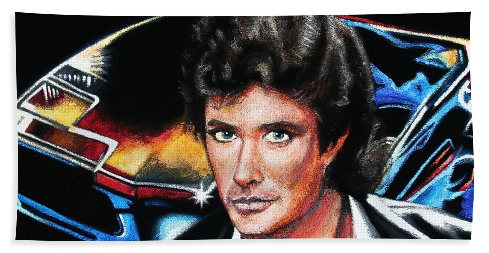 David Hasselhoff Beach Towel featuring the painting David Hasselhoff by Kate Fortin