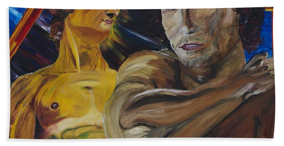 The David Beach Towel featuring the painting David v. Hollywood by Modern Impressionism
