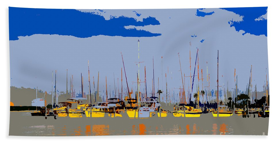 Davis Island Florida Beach Towel featuring the painting Davis Island Yachts by David Lee Thompson