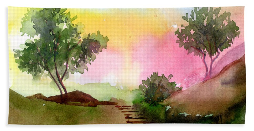 Landscape Beach Sheet featuring the painting Dawn by Anil Nene