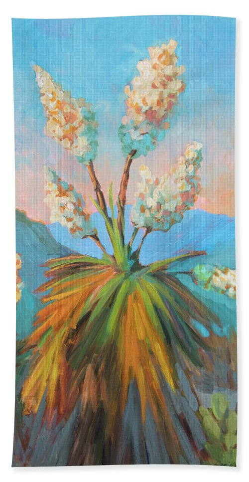 Desert Beach Towel featuring the painting Dawn At Yuccaland by Diane McClary