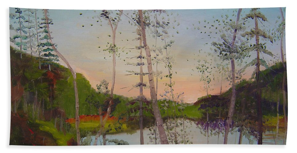 Landscape Beach Towel featuring the painting Dawn By The Pond by Lilibeth Andre