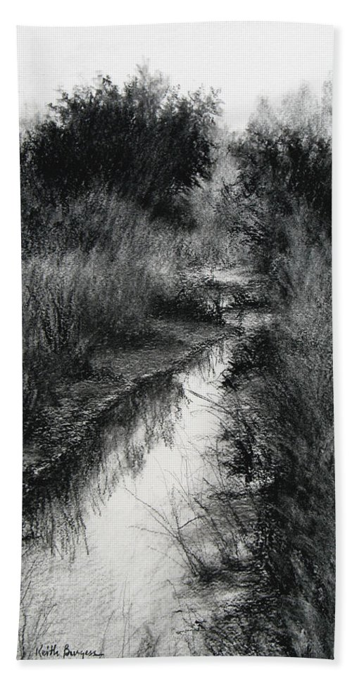 Charcoal Beach Towel featuring the drawing Dawn Marsh by Keith Burgess