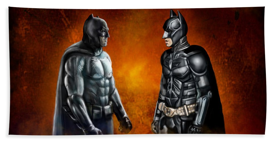 Batman Beach Towel featuring the painting Dawn Of The Dark Knight by Vinny John Usuriello
