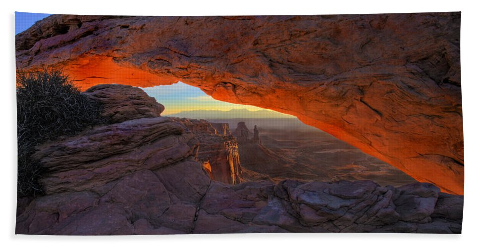 Mesa Arch Beach Towel featuring the photograph Dawns Early Light by Mike Dawson