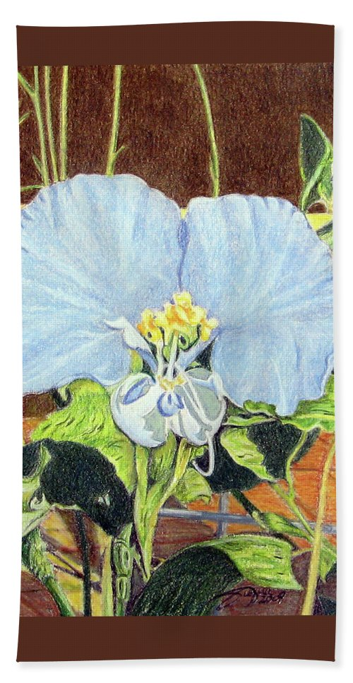 Fuqua - Artwork Beach Towel featuring the drawing Day Flower by Beverly Fuqua