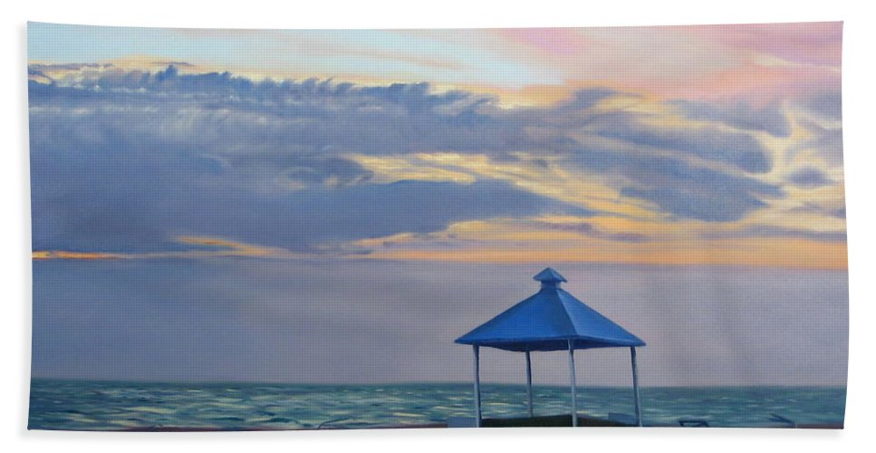 Sunset Beach Towel featuring the painting Day Is Done by Lea Novak