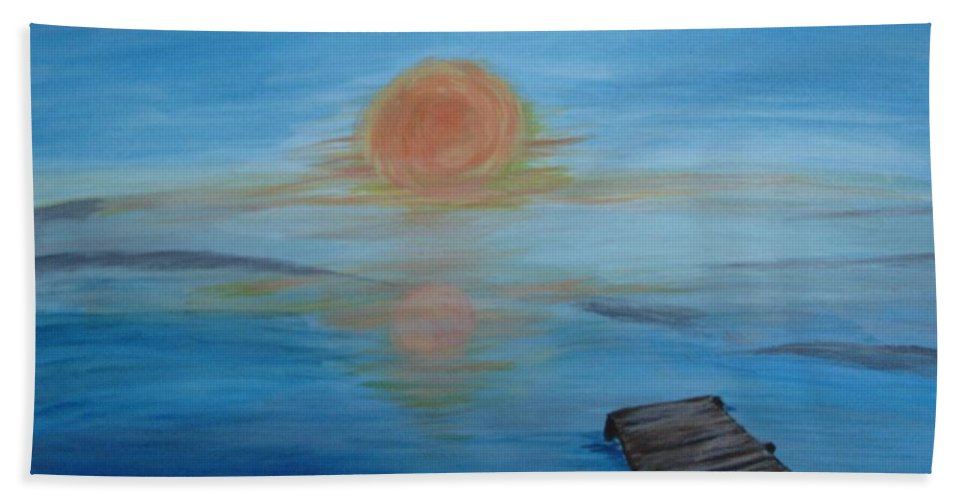 Sunrise Beach Towel featuring the painting Day Out Fishing by Susan Voidets