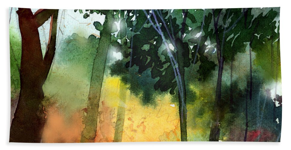 Water Color Beach Towel featuring the painting Daybreak by Anil Nene