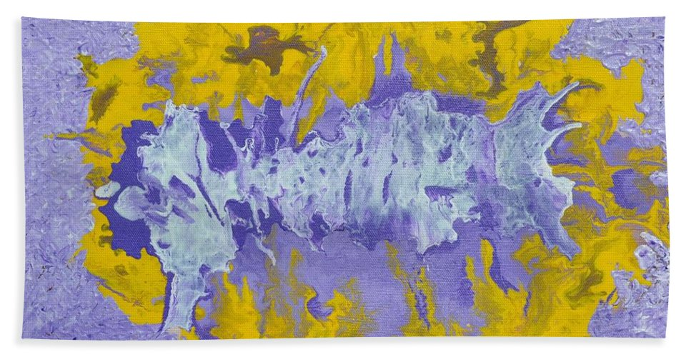 Acrylic Abstract Art Beach Towel featuring the painting Daydreaming by Georgeta Blanaru