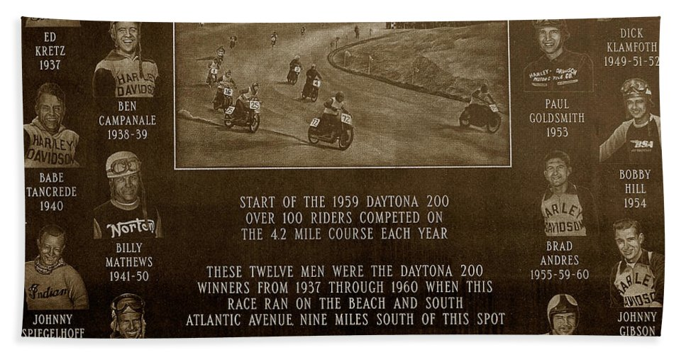 Dayton 200 Bike Race Beach Towel featuring the photograph Daytona 200 Plaque by David Lee Thompson