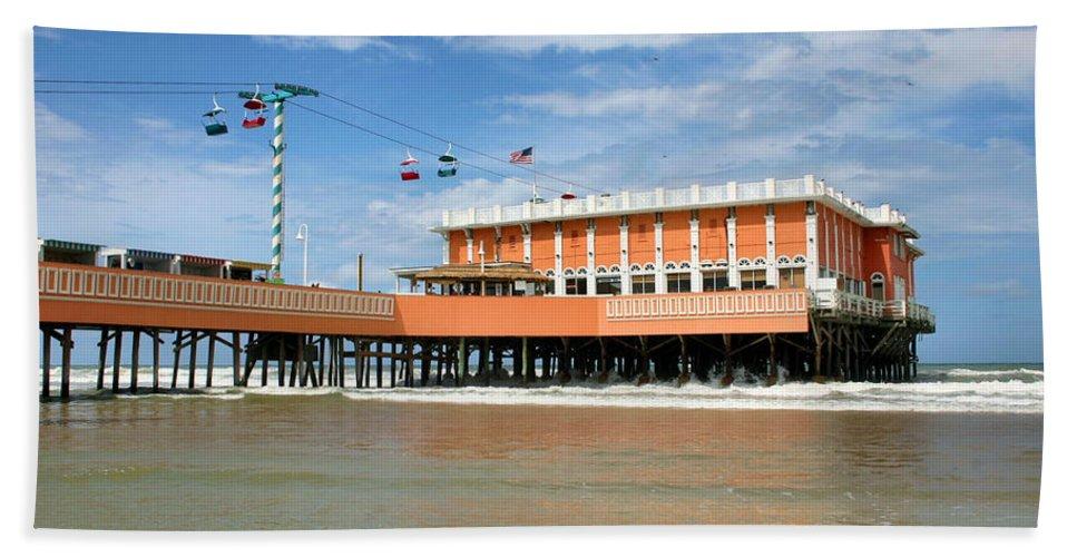 Daytona Beach Beach Towel featuring the photograph Daytona Beach Pier by Kristin Elmquist