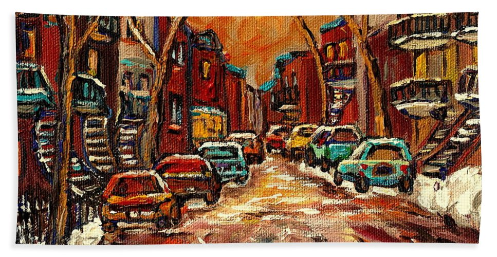 Montreal Beach Towel featuring the painting De Bullion Street Montreal by Carole Spandau