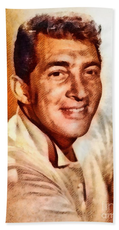 Hollywood Beach Towel featuring the painting Dean Martin, Hollywood Legend By John Springfield by John Springfield