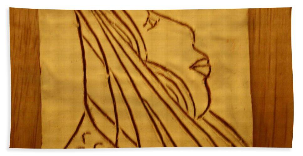 Jesus Beach Towel featuring the ceramic art Dear - Tile by Gloria Ssali