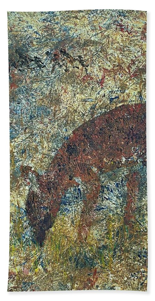 Landscape Twilight Impressionism Of A Deer And In The Background Running Families - Refugees. A Social And Political Overtone. Beach Towel featuring the painting Dear Or Deer Being Hunted by Thomas Dudas