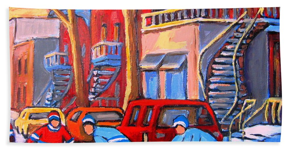 Debullion Street Hockey Stars Beach Towel featuring the painting Debullion Street Hockey Stars by Carole Spandau