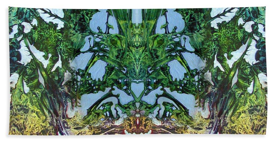 Decalcomania Beach Towel featuring the digital art Decalcomaniac Play I by Otto Rapp
