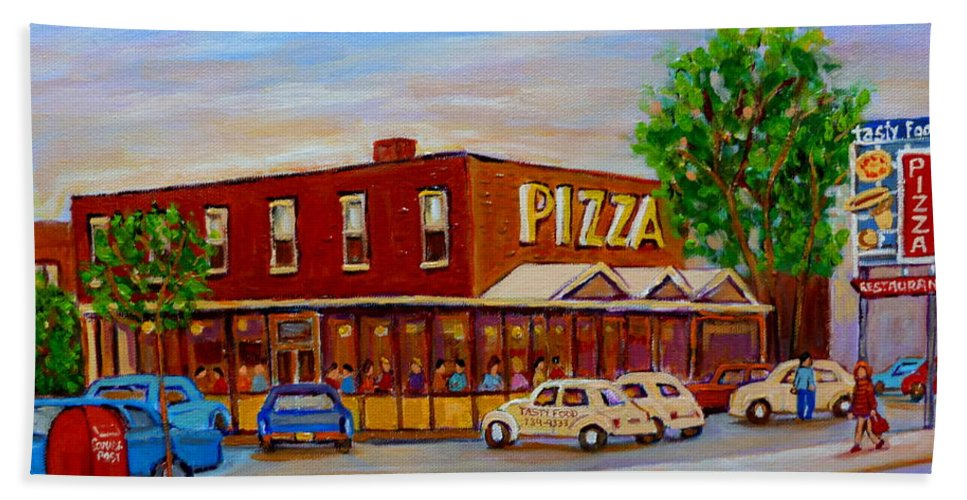 Tasty Food Pizza Beach Towel featuring the painting Decarie Tasty Food Pizza by Carole Spandau