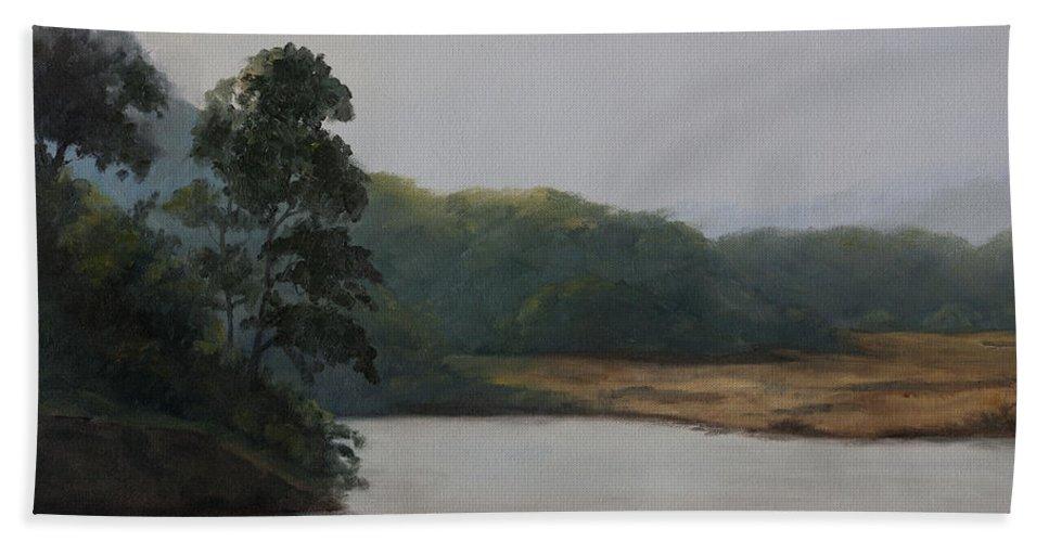 December Beach Towel featuring the painting December Evening by Mandar Marathe