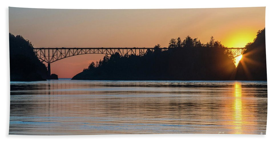 Washington State Beach Towel featuring the photograph Deception Pass Bridge Sunset Sunstar by Mike Reid