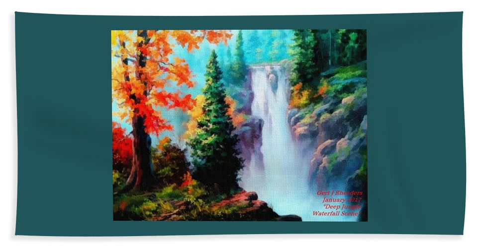 Sky Trees Beach Towel featuring the painting Deep Jungle Waterfall Scene. L A by Gert J Rheeders