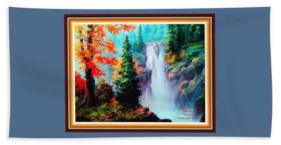 Sky Trees Beach Towel featuring the painting Deep Jungle Waterfall Scene L A With Alt. Decorative Ornate Printed Frame. by Gert J Rheeders