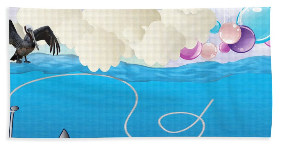 Deep Sea Fishing Beach Towel featuring the painting Deep Sea Fishing by L Wright