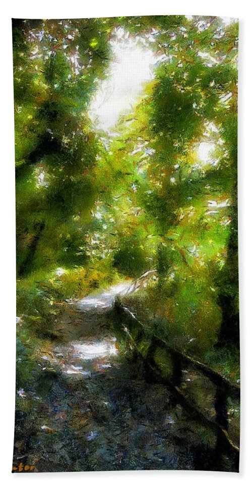 Fence Beach Towel featuring the painting Deeper Into The Greenwood by RC DeWinter